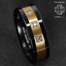 8mm 블랙 텅스텐 반지 닦았 18 k 골드 다이아몬드 atop-럭셔리 남자 웨딩 밴드