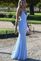 robe de soiree 2020 lace evening dresses long sexy backless sky blue formal evening party gowns sweep train abendkleider cheap