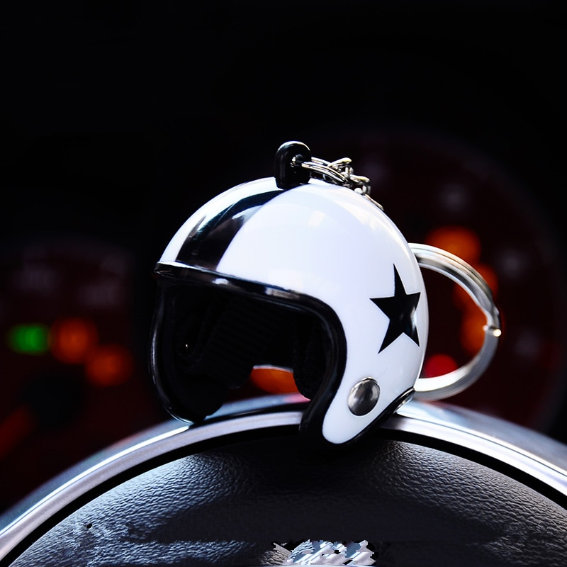 Casco de carreras modelo llavero con anilla para llaves deportivas clásicas ABS hombre joyería bolso encantos accesorios de colgar llaveros de coche regalo 2 unids/lote
