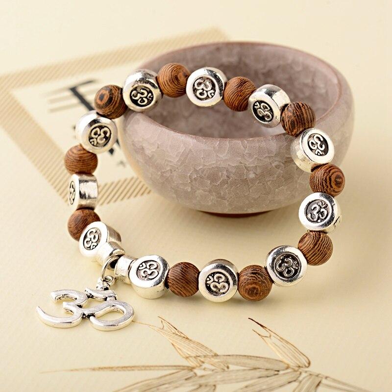 OIQUEI pulsera de Buda de madera Natural de 8mm, abalorios hechos a mano OM, pulsera de Yoga, Mala de Chakra, oración, joyería de meditación