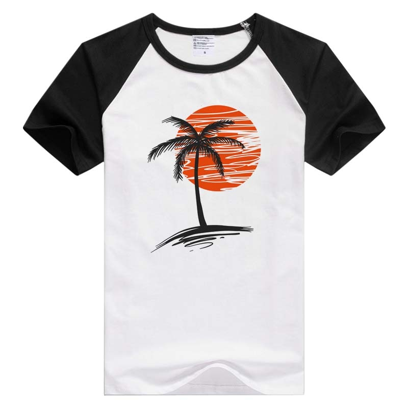 California palmeras caliente verano playa manga corta casual hombres mujeres Camiseta cómoda camiseta Cool impresión Tops GA1030