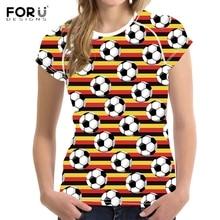 FORUDESIGNS Alemania Soccerly imprimir mujer verano Camisetas de moda de manga corta Tops Tee ropa Casual transpirable Fitness camisetas