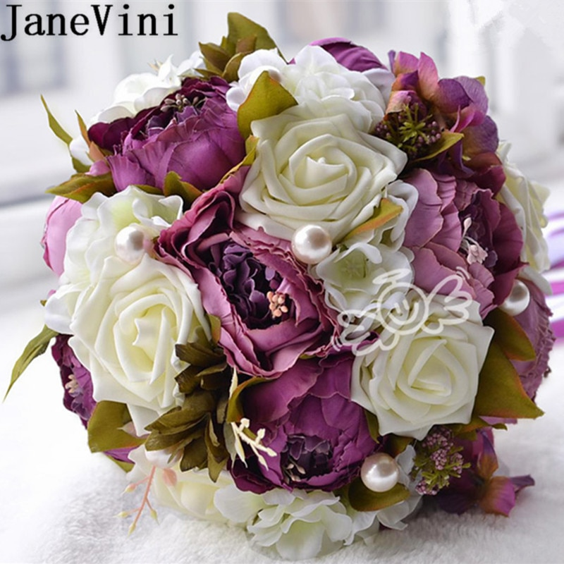 JaneVini خمر الزفاف باقات لحفل الزفاف الحرير الأرجواني روز الفاوانيا العروس باقات مع الشريط اللؤلؤ Ramo Novia فلور الاصطناعي