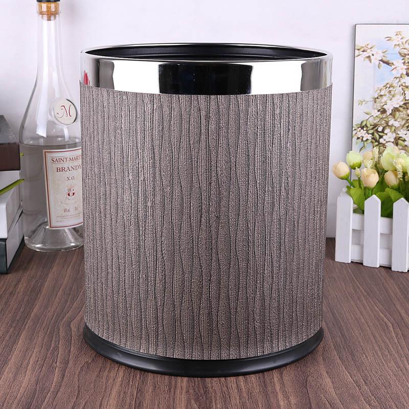 8L Round double-layer home storage trash bin metal+leather rubbish bins kitchen trash bag storage kitchen trash cans PLJT04 enlarge