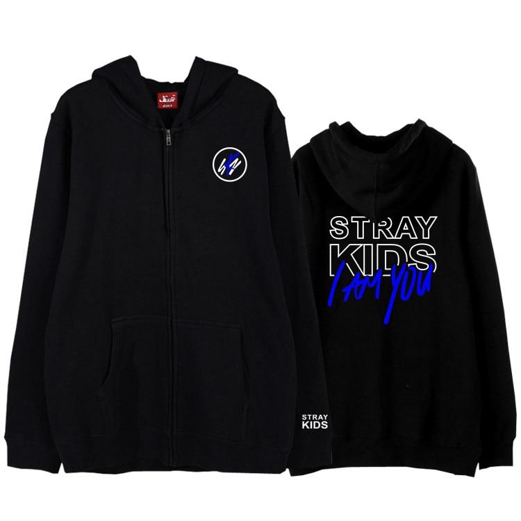 Autumn winter kpop straykids i am you concert same printing zipper hoodie jacket for fans unisex fleece/thin sweatshirt 3 colors