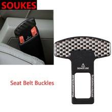 1X Voor Nissan Qashqai Opel Astra J H G Skoda Octavia A5 A7 2 Volvo XC90 V70 Subaru Auto Carbon fiber Veiligheid Seat Belt Buckle Clip