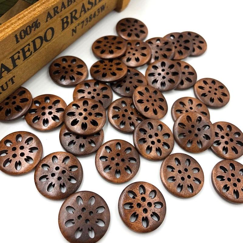 20 Uds marrón perforado botones de madera de flores 25mm coser accesorio para manualidades WB215