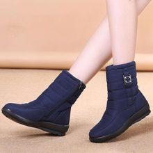 Plus size women boots 2019 warm fur non slip boots women zipper waterproof casual women shoes comfortable flats shoes woman