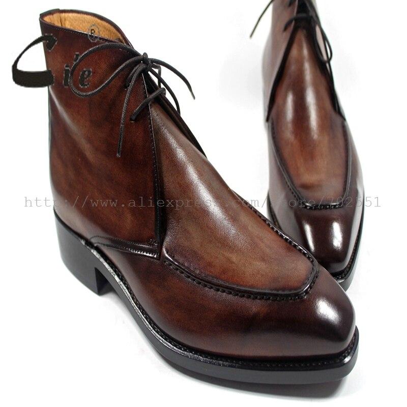 Cie/бесплатная доставка; мужские ботинки ручной работы на заказ из натуральной телячьей кожи; цвет коричневый; № A33; Goodyear