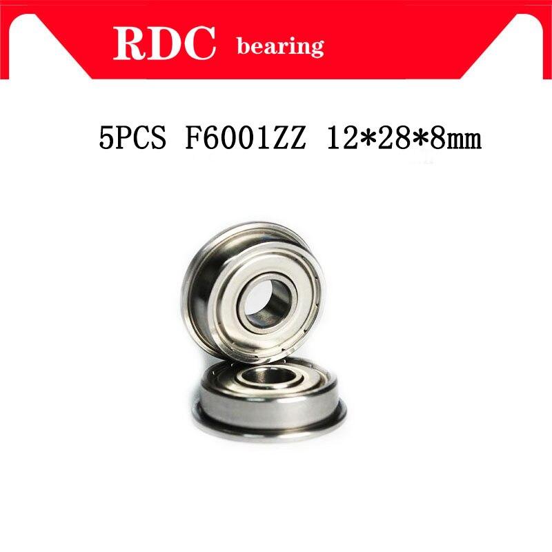 Alta qualidade 5 pcs ABEC-5 F6001ZZ F6001 ZZ F6001 12*28*8mm 12x28x8 dois milímetros de Metal Blindagem Dupla com flange Rolamento Rolamentos de Esferas