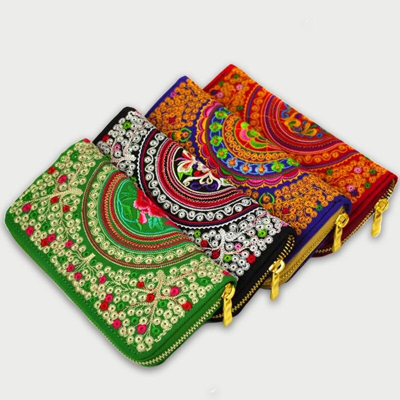 Zipper Chinese Womens Wallet Retro Embroidered Long Clutch Wallet ID Card Holder Case Phone Purse Bag Zipper Wallet For Women