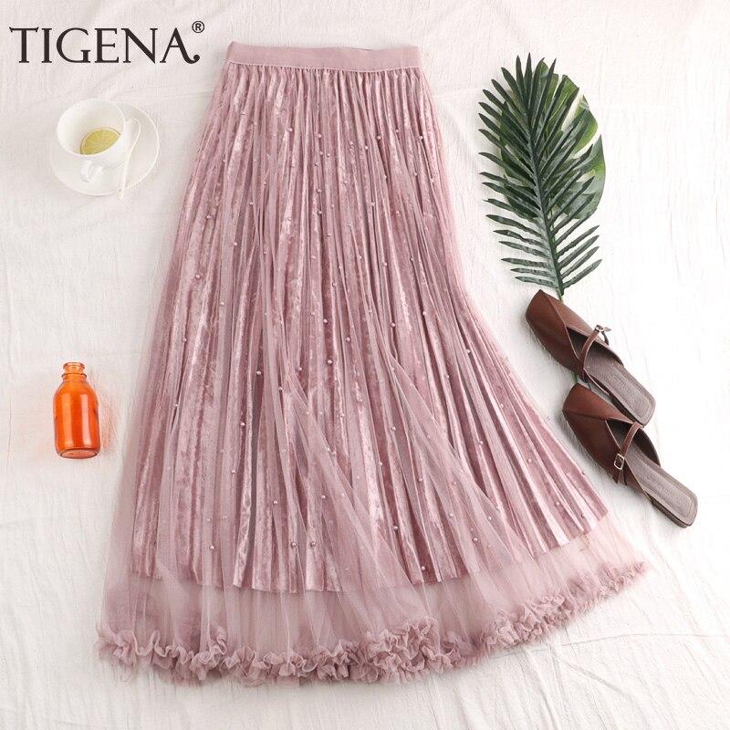 Женская плиссированная юбка TIGENA, длинная юбка из бархата и тюля, юбка макси с высокой талией