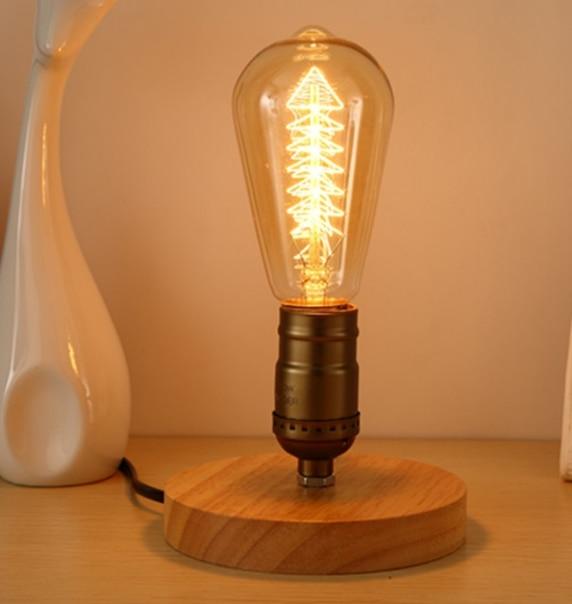 Lámpara De Mesa Para dormitorio, luz De tubo De agua De madera...
