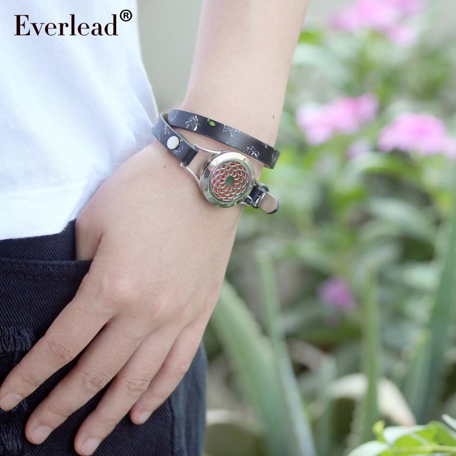 EVERLEAD real pulseira de couro de flor aromaterapia difusor de perfume medalhões de Metal envoltório pulseiras para mulheres moda jóias