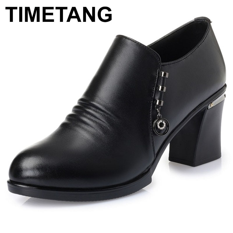 TIMETANG, zapatos de tacón alto grueso de cuero genuino para mujer, nuevos zapatos de tacón negro clásicos, zapatos de tacón para oficina, zapatos de mujer