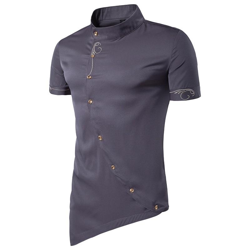 Marca ffxzsj camisa de manga corta de pie de verano 2019 para hombre, camisa informal bordada de frente inclinado tamaño europeo busto 100-128