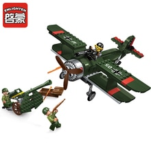 Enlighten Building Block Military Battle Land Force Fighter Battleplane 3 Figures 187pcs Educational Bricks Toy Boy