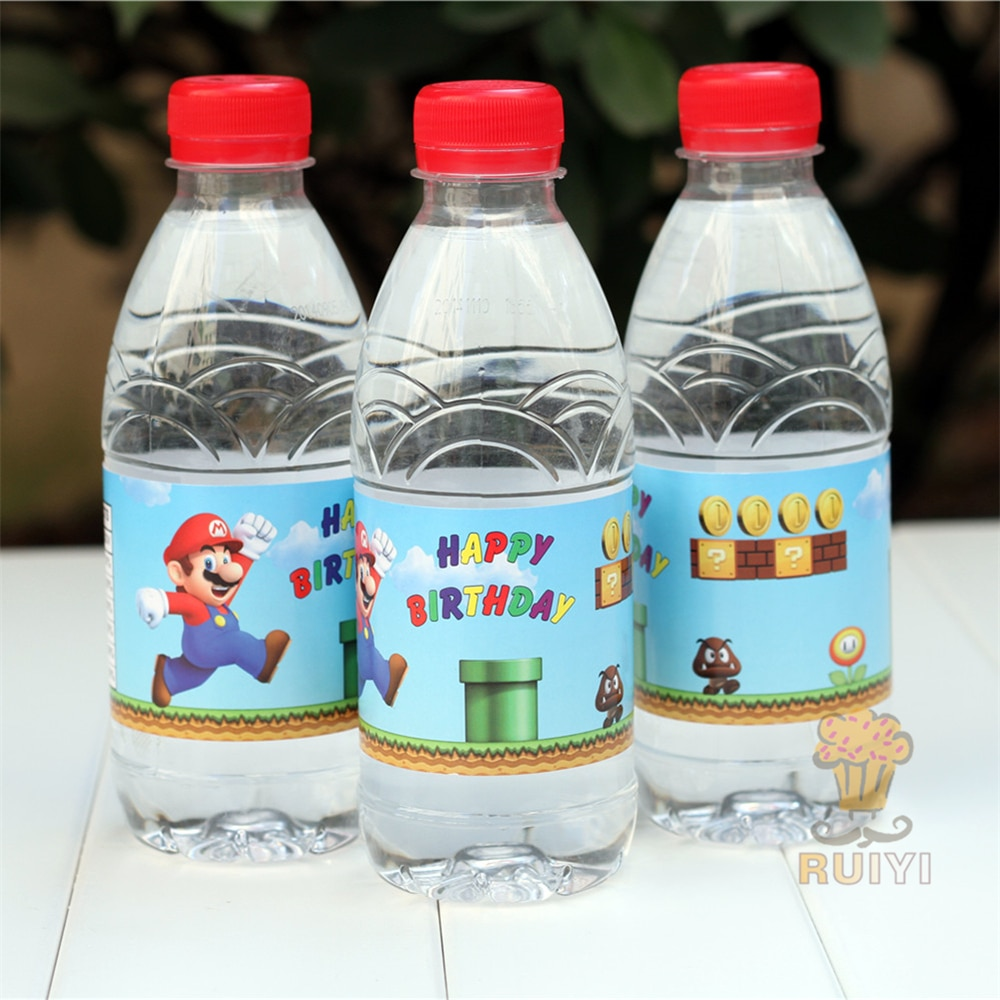 24 шт., аниме, Супер Марио, Луиджи, персик, Боузер, бутылка для воды, этикетка, конфетный бар, украшение, детские товары для дня рождения, детски...