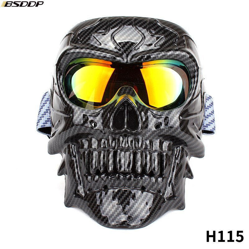 Motorcycle Glasses Helmet Mask Vintage Detachable Modular Skull Mask Motorcycle Goggles Mouth Filter Moto Motocross Glasses enlarge