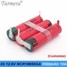 3s 10.8v 12.6v battery 18650 pack ncr18650ga 3500mah 10A soldering battery for screwdriver tools battery customized battery