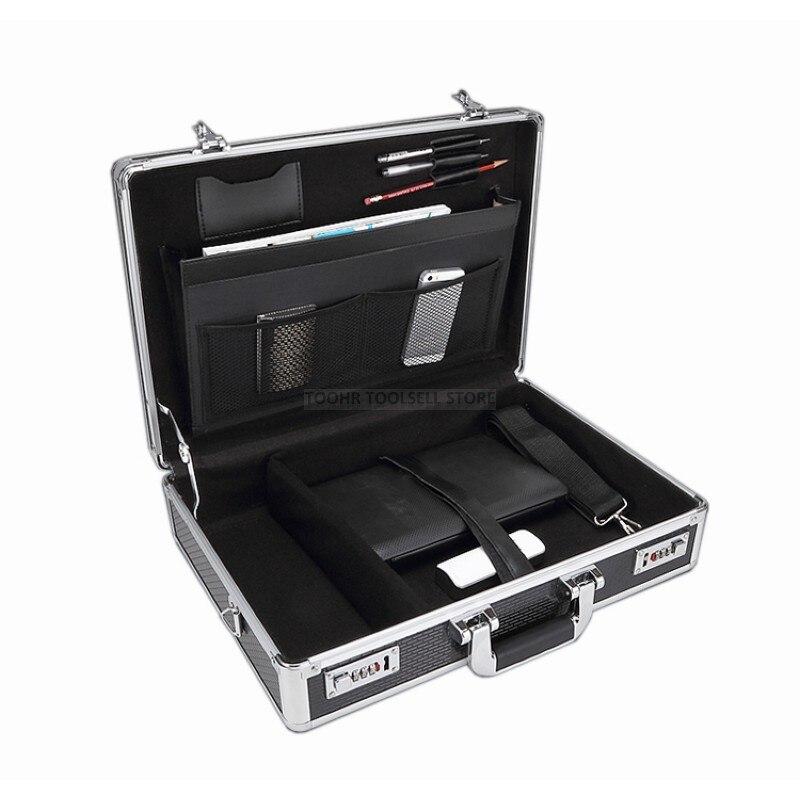 Caja de Herramientas de aluminio, caja de herramientas, caja de contraseña, caja de archivo, estuche de seguridad resistente a impactos, estuche para cámara 375x300x95mm