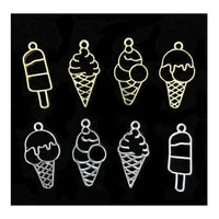 5pcs mini popsicle ice cream metal frame jewelry accessories open bezels diy resin craft handmade charms pendant decor findings