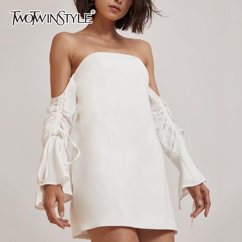 TWOTWINSTYLE Off Shoulder Sexy Mini Shirts Dress Women Summer Slash Neck Lace Up Split Dresses Female White Casual Clothing Tide