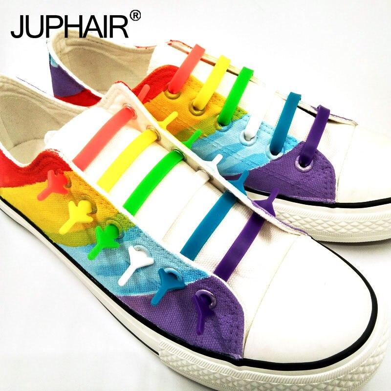 Nuevo 1 Juego (16 piezas) lazy Shoelaces cordones hebilla de cordones plana Cabeza Cuadrada pulsera lona ocio deportes zapatos de silicona elástico