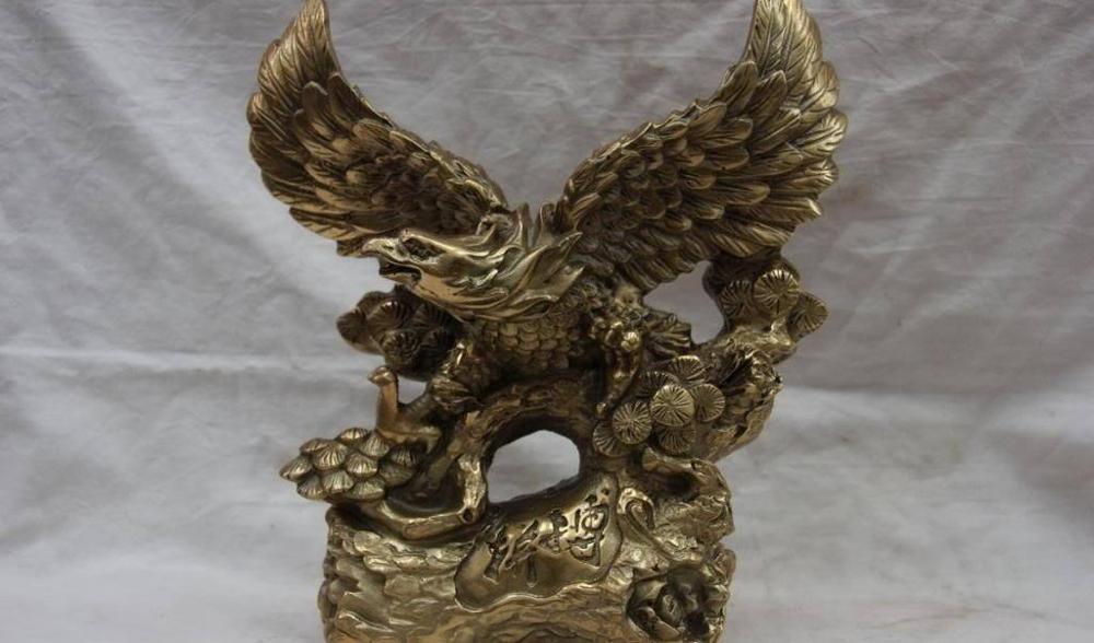 9 folklórico de China cobre refinado de bronce Feng Shui toldo volar águila estatua de Águila