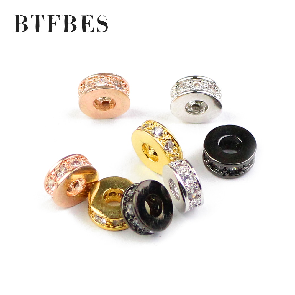 BTFBES 4 Uds moneda cobre espaciador cuentas 7,5mm plano redondo amuletos de zirconio oro cuentas sueltas para joyería pulsera accesorios de fabricación de bricolaje