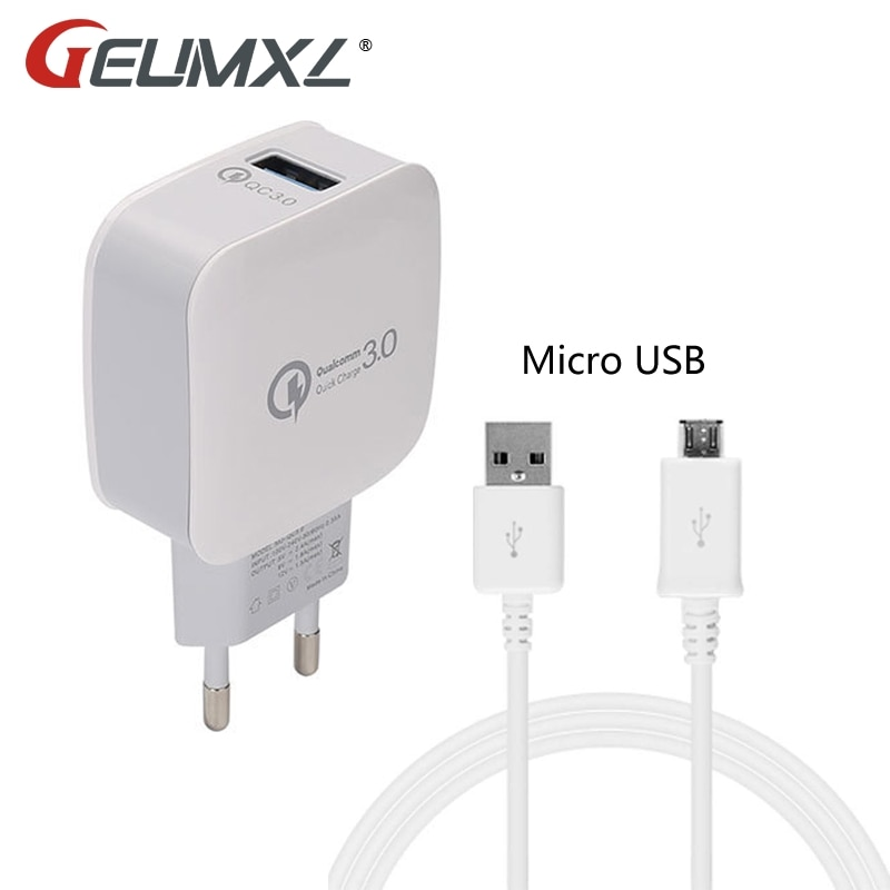 GEUMXL 3A Quick Charge Wand Reise Ladegerät Adapter EU Stecker + Micro USB Kabel für HTC M7 M8 Sony Z2 z3 Z4 LG G2 G3 G4 Moto Lenovo