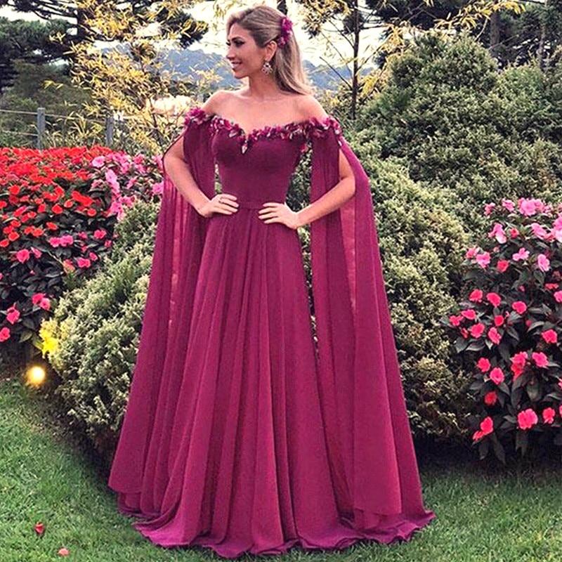 Robe De soirée longue à fleurs, mousseline De soie, manches, élégante Robe De bal, style arabe, robes doccasion, modèle 2019