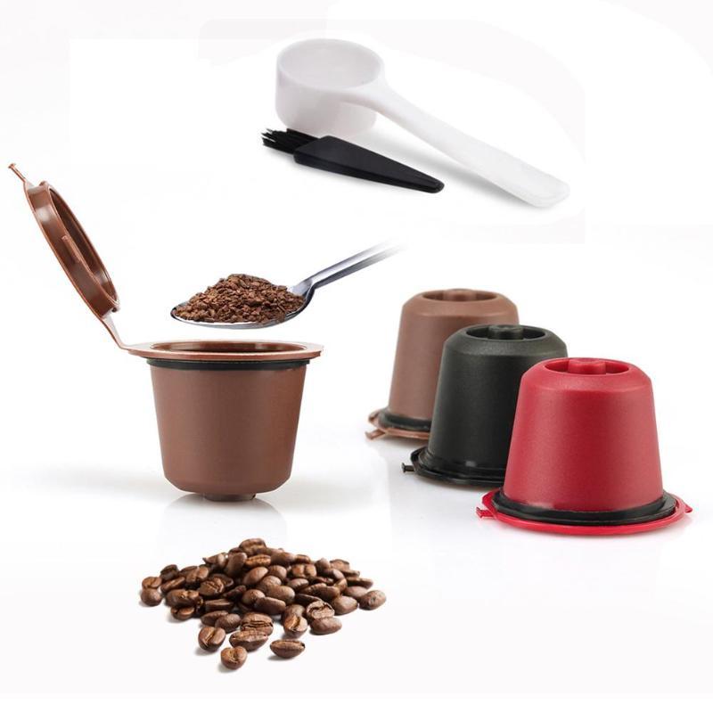 Filtros reutilizables de cápsulas de café recargables 3 uds para cafetera Nespresso con cuchara de cepillo