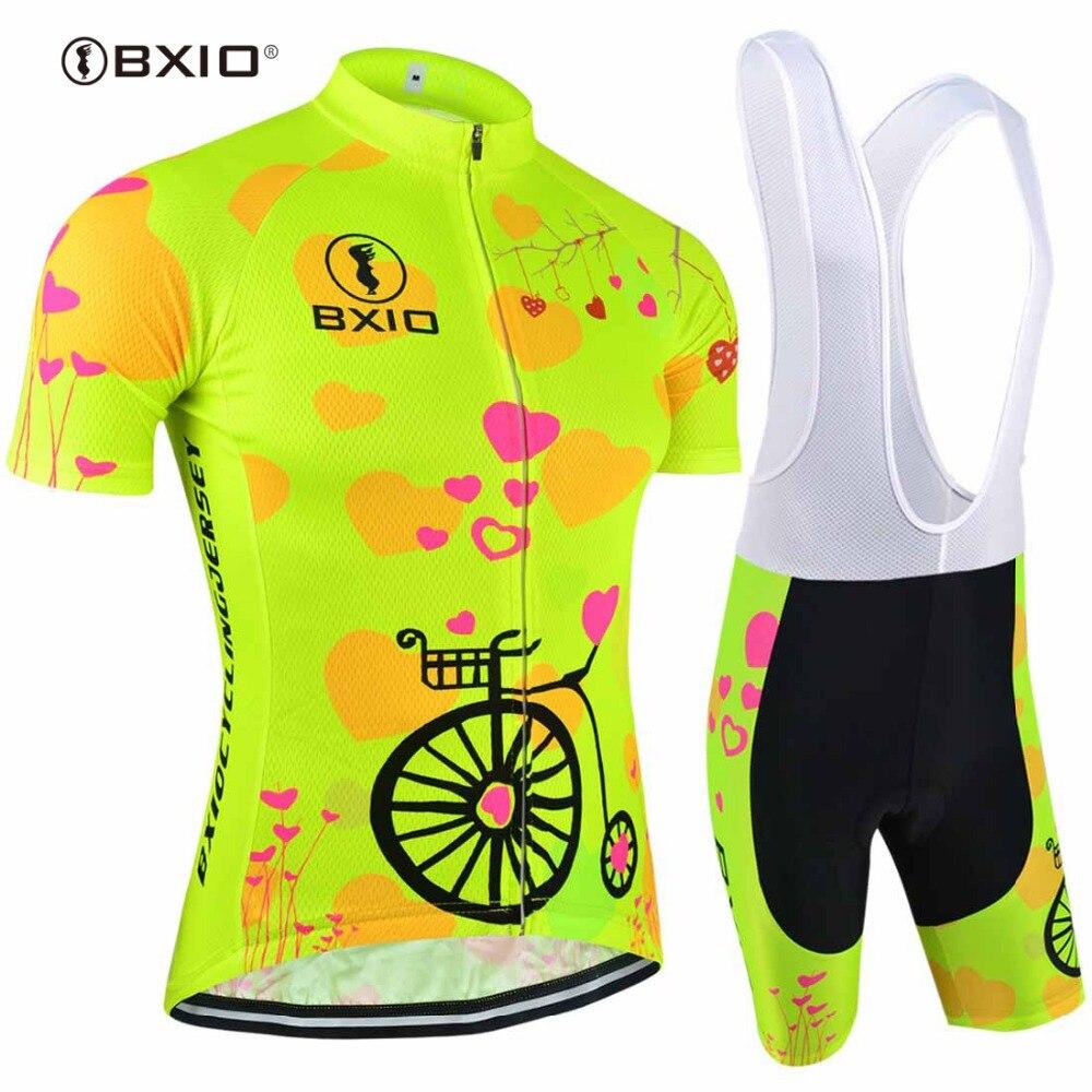 BXIO Women Cycling Jerseys Set 2020 Fluorescence Bicycle Short Sleeve Road Bike Clothing Roupas De Ciclismo Mujer Equipacion 125
