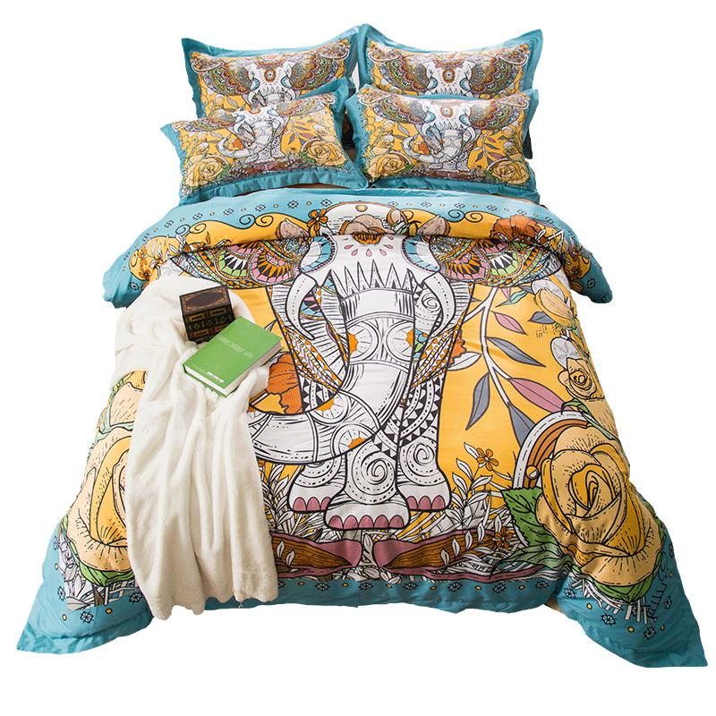 Elefante Bohemia juegos de cama tamaño doble reina rey funda nórdica algodón sábanas funda de almohada Boho Chic Textiles para el hogar