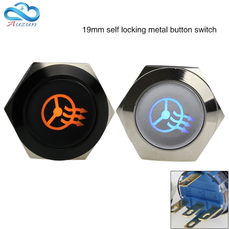 19 mm metal self-locking button switch oxidation black steering wheel heating switch voltage 6V12V24V220V.
