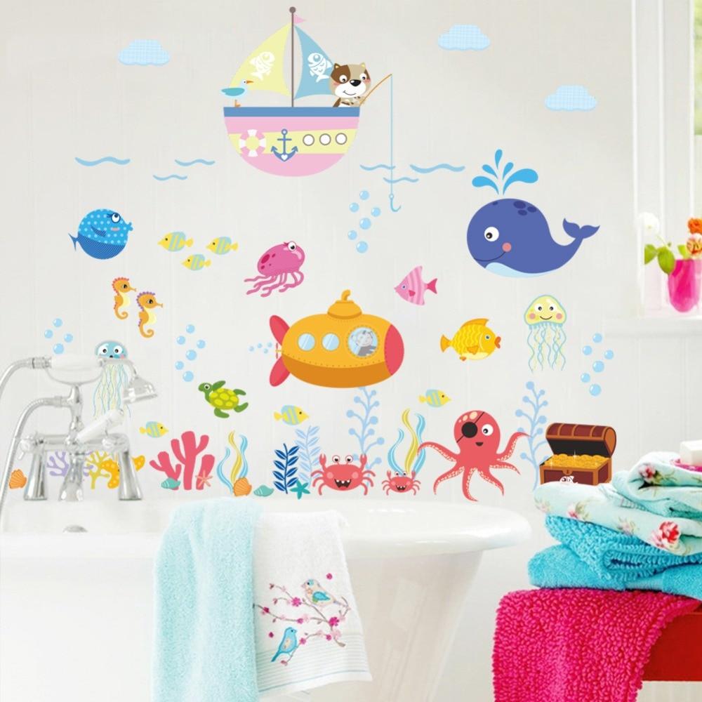Calcomanías de pared para habitación de niños, cuarto de baño, dormitorio, calcomanías de paredes de cocina, póster mural