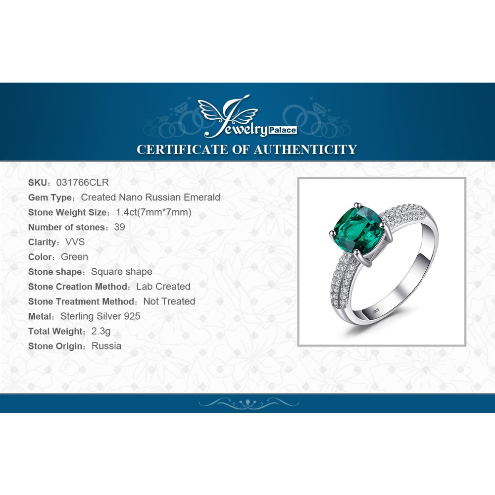 Купить с кэшбэком JewelryPalace Cushion Created Nano Emerald Ring 925 Sterling Silver Rings for Women Engagement Ring Silver 925 Gemstones Jewelry