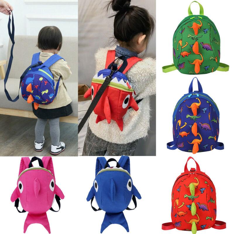Kids Baby Safety Harness Backpack Leash Toddler Anti-lost Dinosaur Shark Bag Cute Children School Bags Kindergarten Cartoon Bag