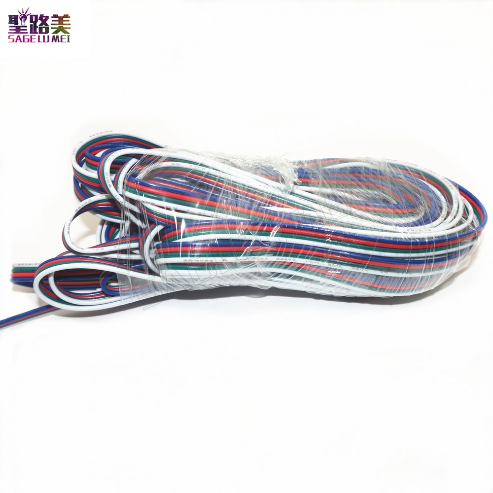 10M/rollo de 4 pines de extensión RGB + Cable conector de Cable blanco para DC12V DC24V 3528 5050 RGB DC5V ws2801 tira de LED