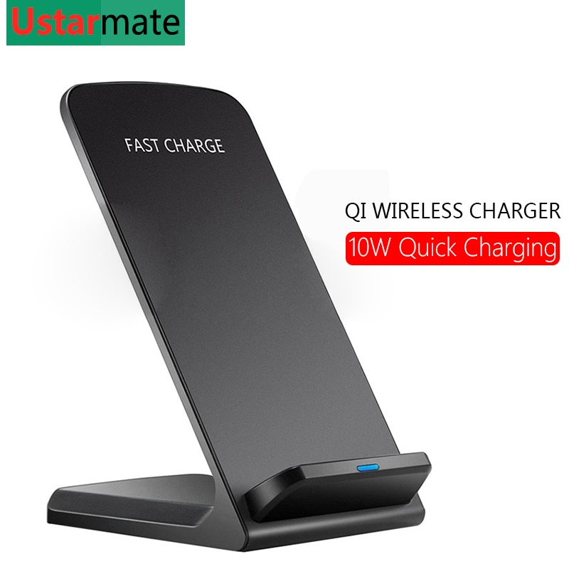Cargador inalámbrico Qi para iPhone X Xs Max XR 8 Plus Samsung S8 S9 almohadilla de carga rápida inalámbrica base 9 V/1.67A 10W carga rápida