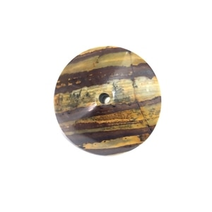 Wholesale 1pcs Natural Iron Tiger Eye 62mm Round Flying Saucer Stone,Double Gyroscope Stone Bead,With throgh Hole 5.6mm