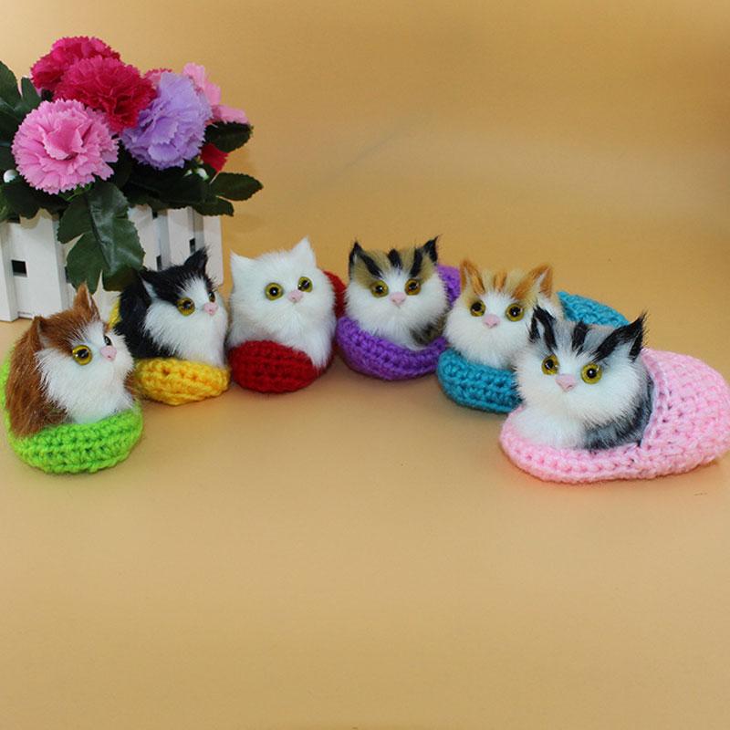 Venda quente bonito simulação soando sapato gatinhos gatos brinquedos de pelúcia crianças apaziguar boneca presentes de aniversário natal nsv775