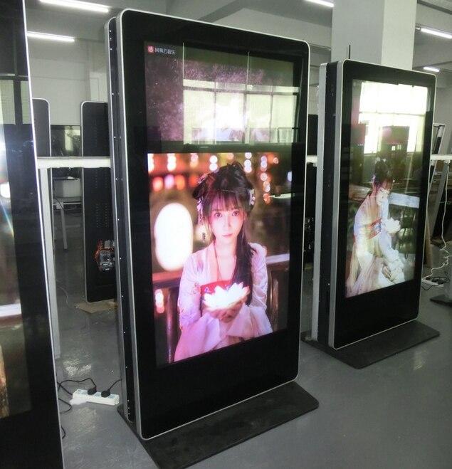 65 55 polegada de Dois Gumes de publicidade digital signage para o supermercado com OS construído em