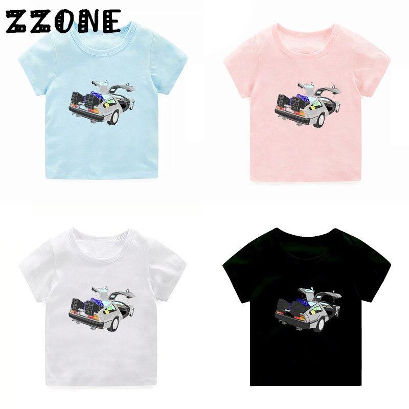 Niños volver al futuro Delorean DMC camiseta niños niñas de manga corta verano Tops niños Cool Casual ropa, 2260F