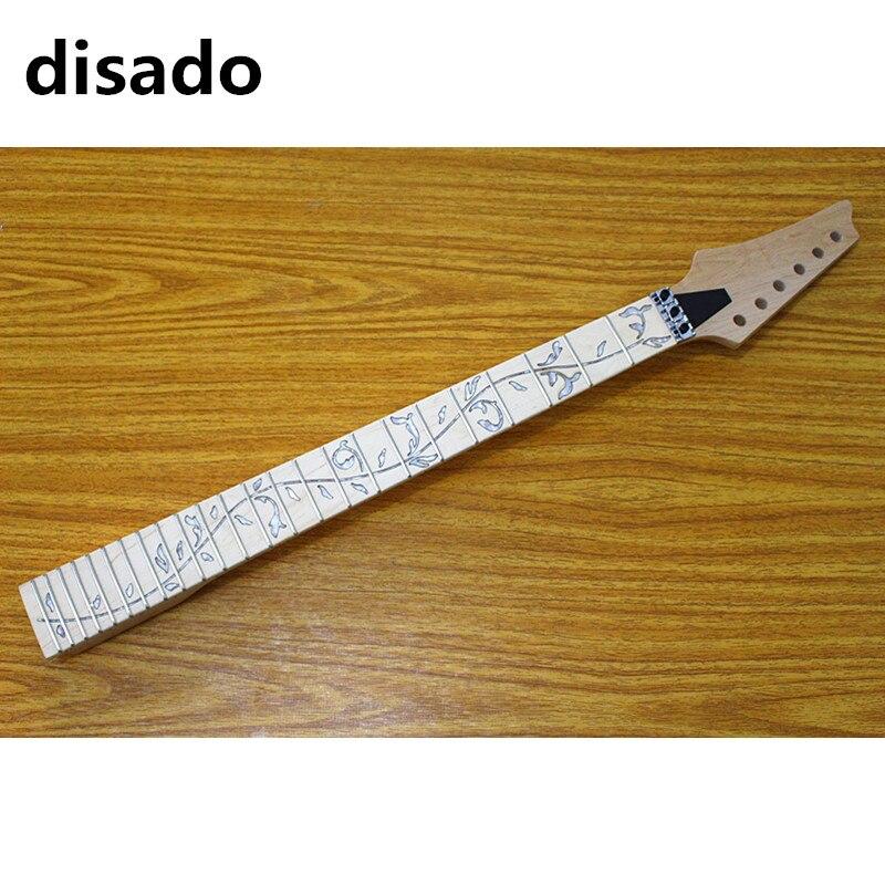 Disado 24 trastes reverso cabeça bordo guitarra elétrica pescoço bordo fingerboard inlay árvore de lifes guitarra acessórios peças