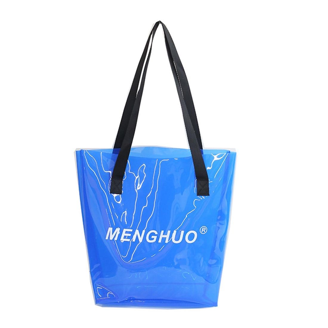 "DCOS 2018 Fashion New PVC Transparent Letter ""MENGHUO"" Jelly Bag Waterproof Hand Shoulder Beach Handbag"