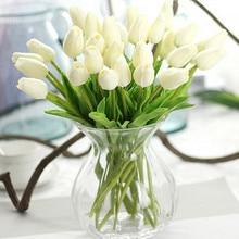 Искусственные тюльпаны, 31 шт./лот, искусственные цветы из искусственной кожи, искусственные цветы, настоящие цветы на ощупь, для украшения с...