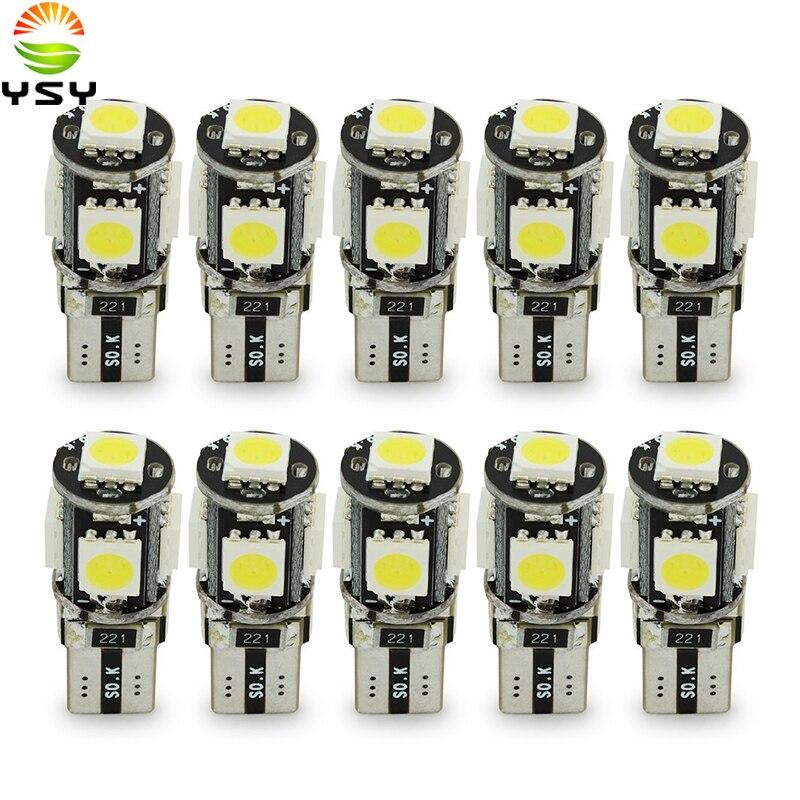 Ampoules de voiture T10 Canbus LED blanc, 10 pièces, W5w, 5 SMD 5050, Super brillant, 194, 168, 2825, LED, carte latérale, éclairage intérieur