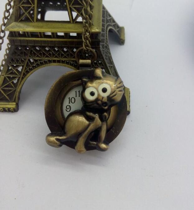 Dibujo animado estampado de zorro cuarzo de bronce reloj de bolsillo analógico colgante collar hombres mujeres niño niña regalo